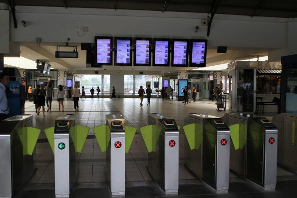 New format display at Flinders Street, above the southern Federation Square entrance