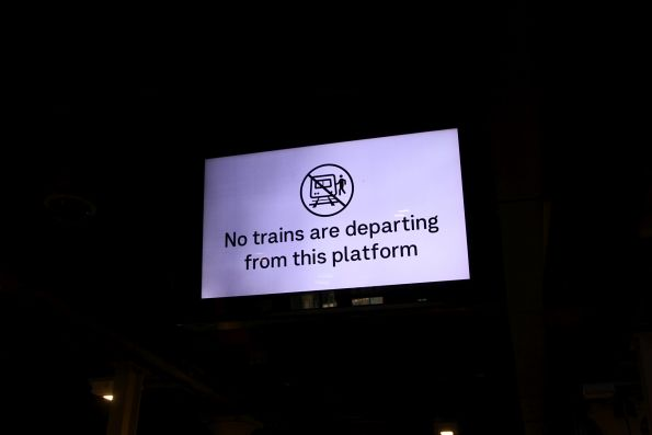 'No trains are departing from this platform' message at Flinders Street platform 12