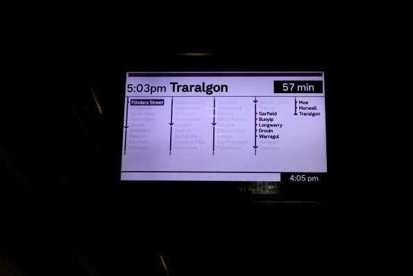 New format display at Flinders Street, showing a Traralgon service in tiny impossible to read text