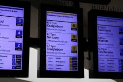 New format displays at Flinders Street, no Upfield trains to be seen