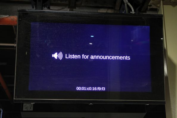 'Listen for announcements' message at Flinders Street platform 12