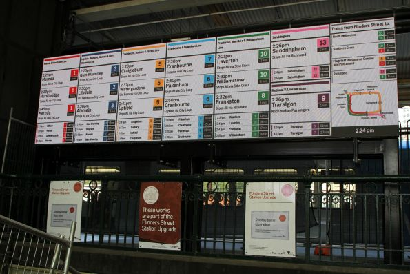 New bank of low resolution LED matrix screens installed above the Elizabeth Street subway at Flinders Street Station
