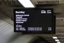 Down Burnley service displayed on the PIDS at Parliament station