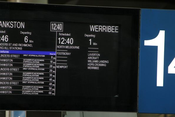 Werribee train on the PIDS at Southern Cross Station