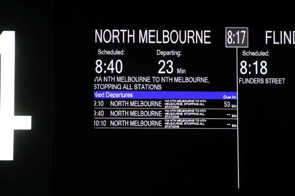 Direct trains running between Flinders Street and North Melbourne on a weekend
