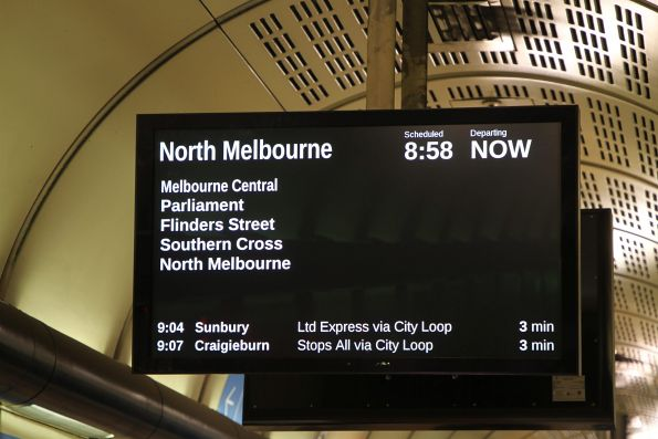 North Melbourne via City Loop train on the PIDS at Flagstaff station