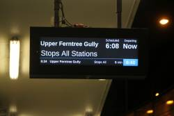 'Upper Ferntree Gully' train displayed on the PIDS at Boronia