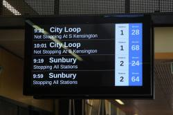 How long until the next train to the city from Sunshine - 28 or 68 minutes!