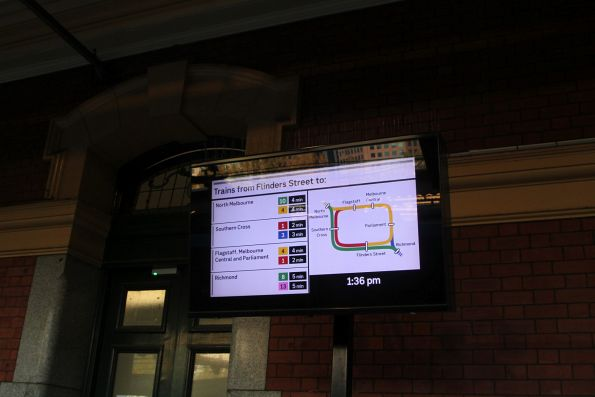 'Trains from Flinders Street' board at Flinders Street platform 1