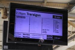 Every single suburban station greyed out for a Traralgon service on the screen at Flinders Street