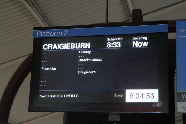 Craigieburn service running express North Melbourne - Essendon - Glenroy - Broadmeadows - Craigieburn in morning peak