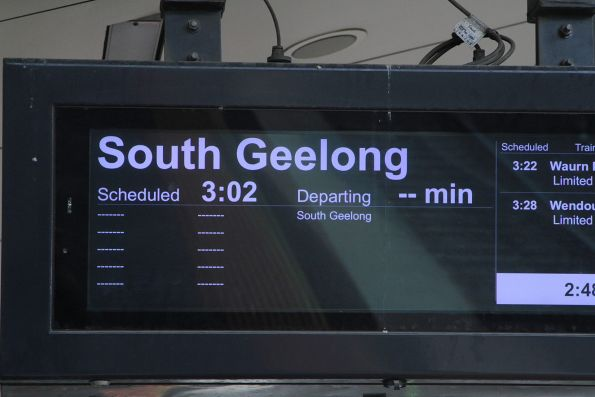 Next train from Sunshine platform 4 is an express service to South Geelong