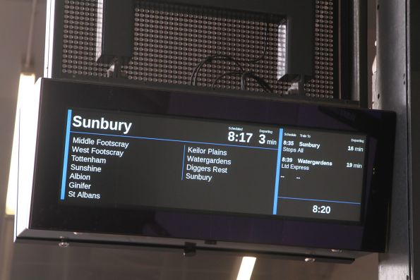 Only two of a possible three next services are displayed at Footscray station platform 2