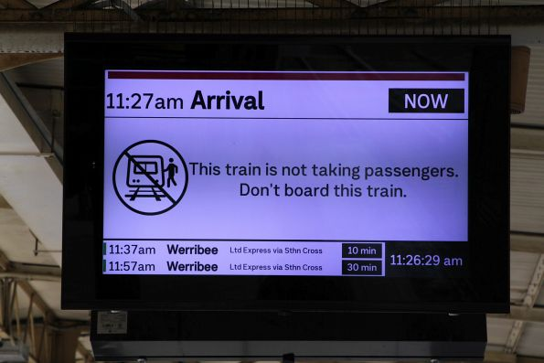 'Arrival: train is not taking passengers' message at Flinders Street Station