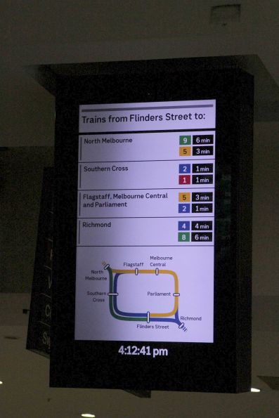 'Trains from Flinders Street' board the Flinders Street Station main concourse