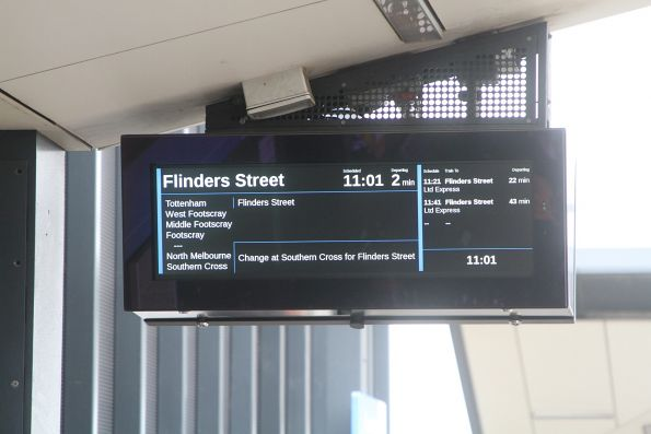 'Change at Flinders Street for Southern Cross'