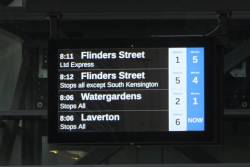The next train displays at Footscray station are ordering by timetable, not by minutes to departure