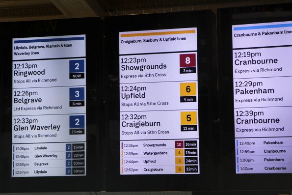 Showgrounds trains shown in brown on the 'Craigieburn, Sunbury and Upfield lines' section at Flinders Street Station