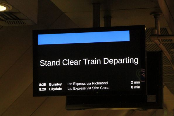 'Stand Clear Train Departing' message on the PIDS at Melbourne Central