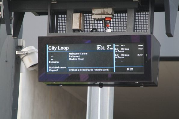 'Change at Footscray for Flinders Street' message at Sunshine station