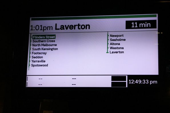 PIDS at Flinders Street platform 12 show blank lines for the following two departures