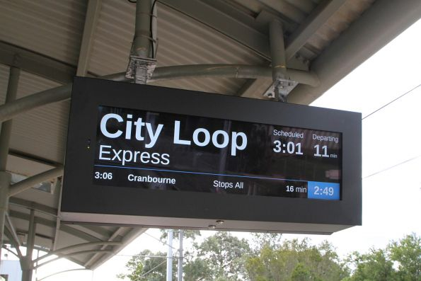 Newly installed LCD PIDS at Merinda Park station