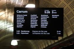 Carrum train on the PIDS at Flagstaff station