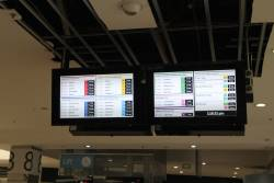 New pair of LCD PIDS on the main Swanston Street concourse at Flinders Street Station