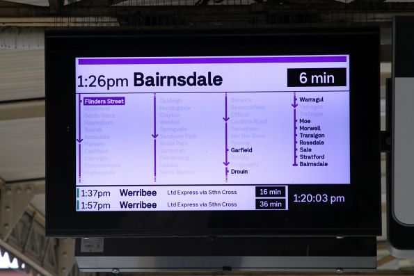Bairnsdale service running express from Flinders Street Station