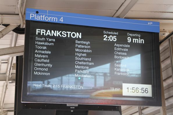 Frankston service stopping all stations except Carrum from Richmond station