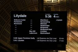 Lilydale service at Flagstaff station, running express Richmond to Box Hill