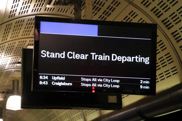 'Stand Clear Train Departing' message on the PIDS at Flagstaff station