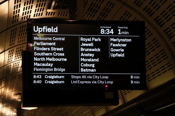 Upfield service on the PIDS at Flagstaff station
