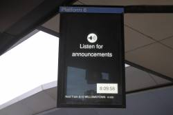 'Listen for announcements' message at North Melbourne