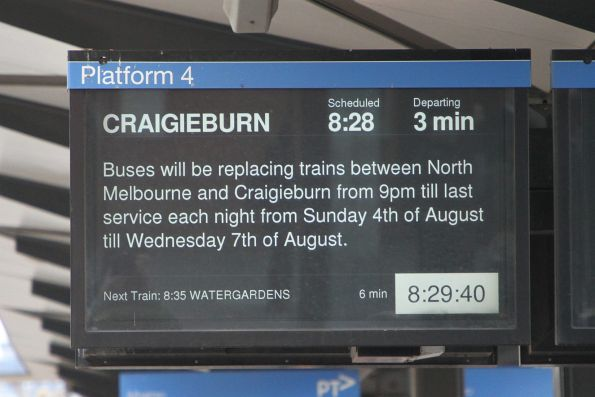Notice at North Melbourne of upcoming Craigieburn line bus replacements