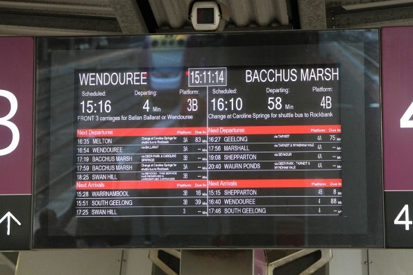 Wendouree and Bacchus Marsh trains next to depart from Southern Cross platform 3 and 4