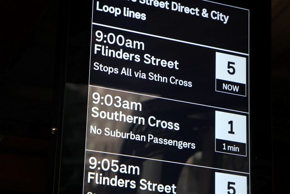 'No suburban passengers' services listed under the 'Flinders Street Direct and City Loop lines' section