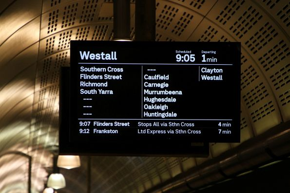 Westall service onto the PIDS at Flagstaff station
