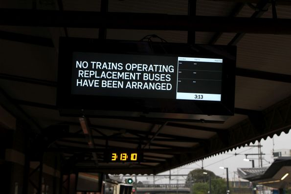 'No trains operating, replacement buses have been arranged' sign at Footscray platform 5