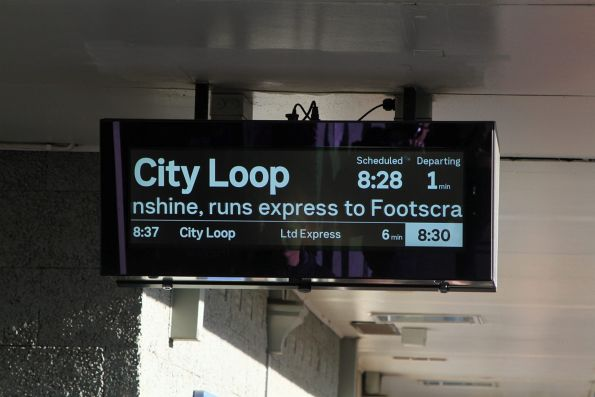 New LCD PIDS at Albion station showing a 'real' limited express City Loop service