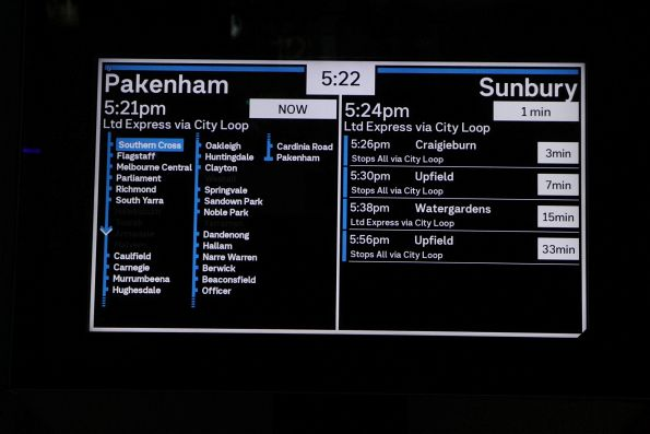 New display format on the PIDS at Southern Cross platform 11 and 12