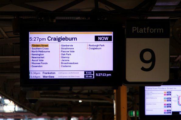 5.27pm train from Flinders Street platform 9 to Craigieburn via Southern Cross