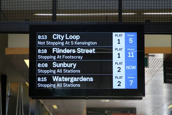 Large 'PLAT' text added to the next train display at Sunshine