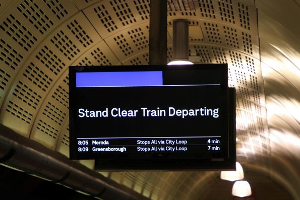 'Stand Clear Train Departing' message still displayed past the halfway point