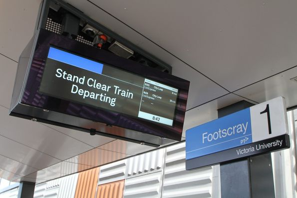 'Stand clear train departing' burn line on the PIDS at Footscray station