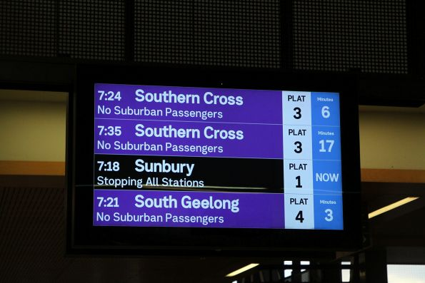 Southern Cross trains showing as 'No Suburban Passengers' at Sunshine station