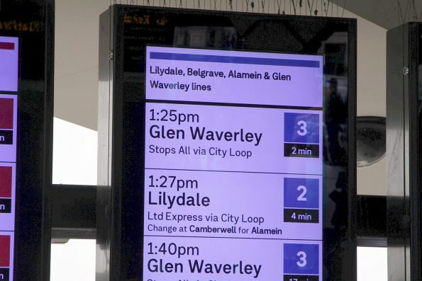 'Change at Camberwell for Alamein' now displayed on the PIDS for Lilydale/Belgrave services at Flinders Street Station