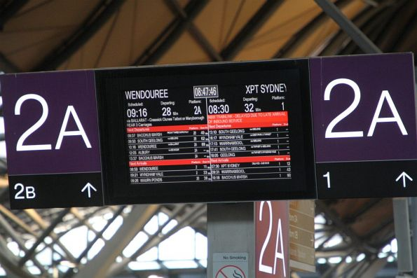 Sydney XPT departure delayed by 49 minutes due to a late inbound arrival