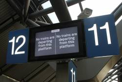 'No trains are departing from this platform' on the new format PIDS at Southern Cross platform 11 and 12