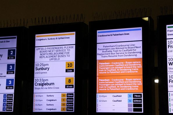 Different styles of disruption notices for the Upfield, Pakenham and Cranbourne lines at Flinders Street Station